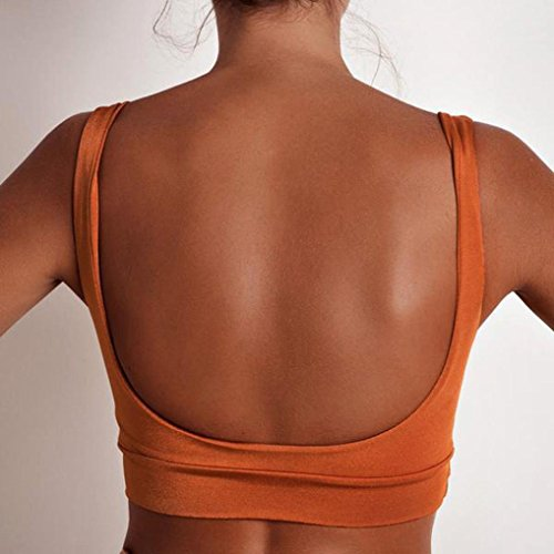 Bluestercool Femmes Gilet de sport Sans manches Couleur Unie Orange