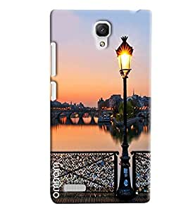 Omnam Posttop Lantern On Sea Side And River Bridge Designer Back Cover Case for Xiaomi Redmi Note