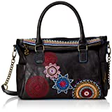 Desigual Bols Loverty Amber NegroDati:o Materiale: Esterno 100% poliuretano, all'interno 100% Poliestereo Dimensioni: Larghezza di circa 31 cm, altezza circa 23 cm, profondità 11 cmo Colore: Negro (nero / rosso / blu)o Fabbricante: Desigual