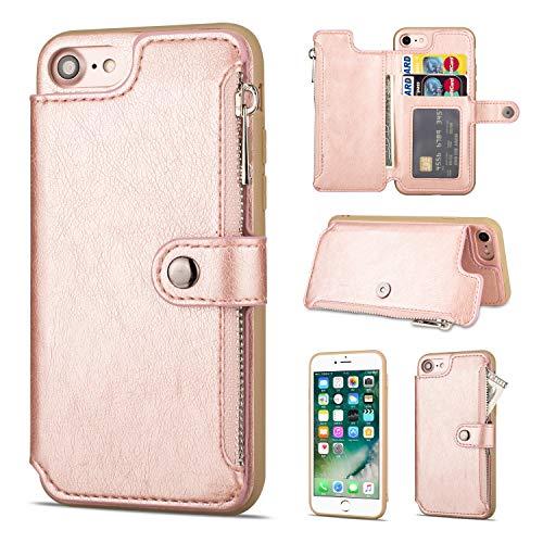 Shinyzone Hülle für iPhone 8/iPhone 7 Hülle,Reißverschluss Brieftasche mit Kreditkarteninhaber und Geldtasche Magnetverschluss Standfunktion Leder Flip Back Schutzhülle-Roségold