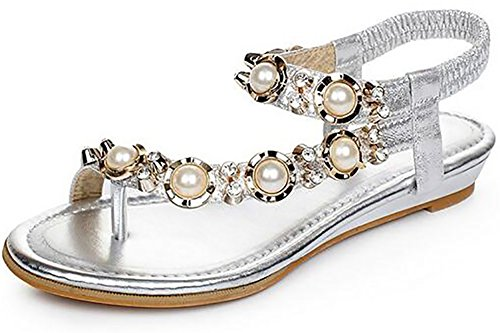 Odema Femme Sandales Plat Clip-orteil Bride Cheville Perles Strass Argent
