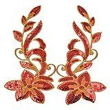 Kesheng Paar Bügelbild Aufnäher Blumen Pailletten Golden Rot Silber Grün Blau Weiß Lila Pink Patch
