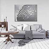 FORWALL Bilder Silber Baum mit Vögeln O1 (100cm. x 75cm.) Leinwandbilder Wandbild AMFPP10231O1