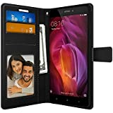 Foso Xiaomi Redmi Note 4 PU Leather Magnetic Flip Cover Wallet Case by FOSO(TM) (Black)