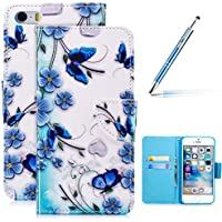 Robinsoni iPhone SE 5 5S Hülle,iPhone SE 5 5S Leder Hülle Brieftasche Flip Wallet Case Cover Bookstyle Schutzhülle mit 3D Bunt Vintage Painted Muster PU Premium Hülle Tasche Standfunktion