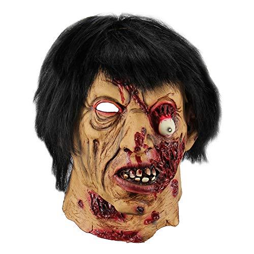 Kanggest. Cabeza de Zombie de Halloween,Máscaras de látex Cabeza de Terror para Adultos Casa embrujada Props Accesorios de Miedo Decoración navideña(Zombie)