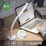 Aglaia Lampe de table rechargeable, 3 W Lumière LED Intensité variable Touch avec 3 niveaux de luminosité pour lecture et étude, Cou Flexible. (LT-T16)