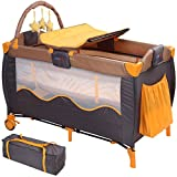 Infantastic Kinderbett (Farbwahl) Klappbett Babybett Laufstall Reisebett Babyreisebett Inkl. Matratze + Zubehör (Honey Bear)