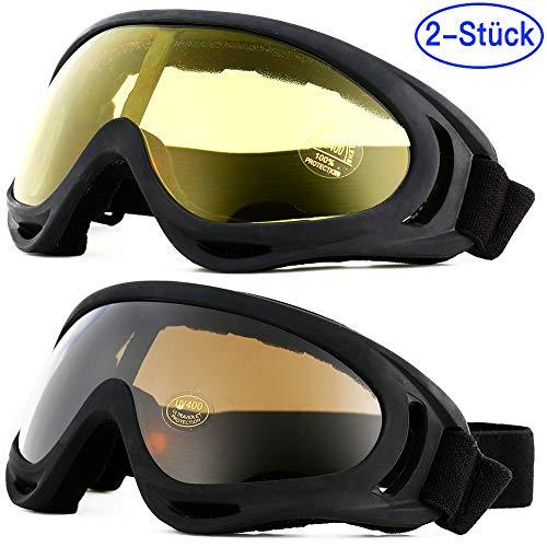 Mounchain, 2 Paia di Occhiali protettivi Anti-Appannamento, Anti-Polvere, Antivento, per Sport Invernali, per Sci, Ciclismo, Snowboard, Escursionismo, Brown + Yellow