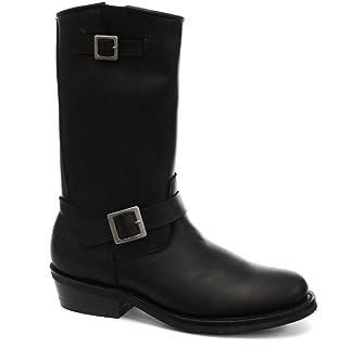 Grinders Bottes Boots Homme Cuir véritable Noir Punk Rock