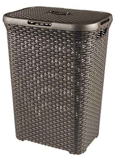 CURVER Style 60L Wäschebox, Plastik, Dunkelbraun, 44.8 x 34.1 x 61.5 cm