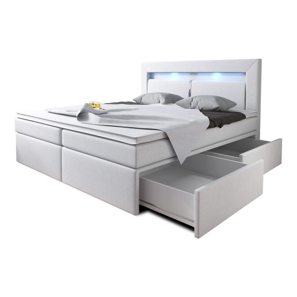 Boxspring bett weiß 160x200  Boxspringbett 160x200 Weiß mit Bettkasten LED Kopflicht Kunstleder ...