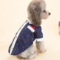 YU-K Cani abbigliamento abbigliamento piccolo cane mezzo abbigliamento abbigliamento cane cane grande vestiti timbro di ancoraggio shirt Marina , serie L (torace45cm)