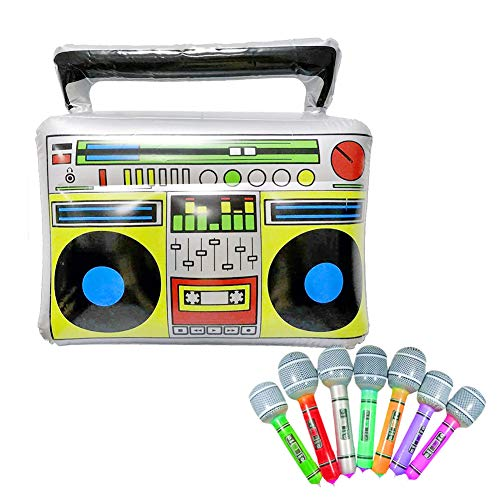 Surenhap Spielzeug Aufblasbares Musikspielzeug PVC Radio + 7 Mikrofone Inflatable/Novelty Blow Up Boom Box Für 80er / 90er-Party Supplies Dekoration