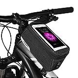 """MTB BMX Borsa Bicicletta Impermeabile, ROSWHEEL Borse Telaio Bicicletta per Smartphone Sacchetto Borsa Anteriore Bici Borsa tubo per Telefono Sotto di 5.7"""" schermo(2018)"""
