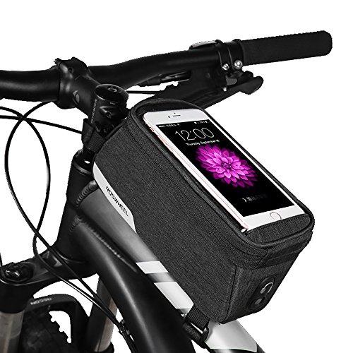 Sacoche Velo, ROSWHEEL Sac de Cadre de Vélo Sacoche de Tube Supérieur Sacoche de Guidon Avant pour Téléphone Portable Imperméable Écran Tactile Sensible (2018, 1L)