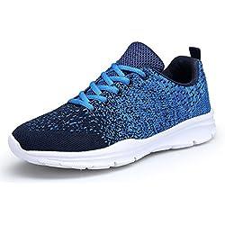 DAFENP Zapatillas de Running Hombre Mujer/Zapatos para Correr en Montaña y AsfaltoAire Libre y Deportes para Hombre Unisex Adulto,XZ747-M-blue-EU43