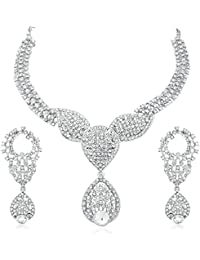 Apara Silver Plated Necklace Set With Austrian Diamond For Women