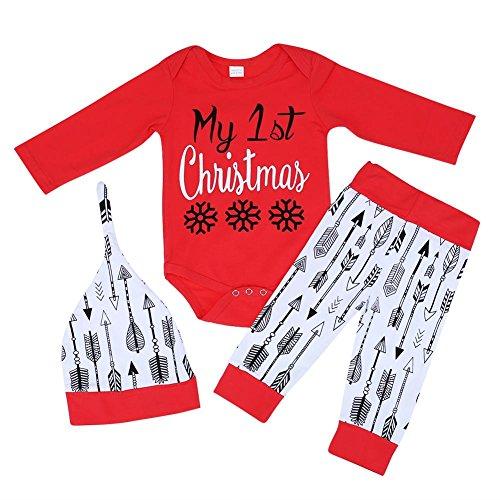 3Baby Weihnachten passt Lange Ärmel Strampelanzug + Pfeil Print Pants + Hat (80cm) (Baby Weihnachten Passt)