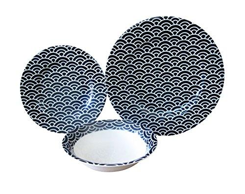 Acht-personen-esstisch (Die Platte Co. Signature schwarz & weiß Premium Esstisch Set - 8 Person Dinner set)