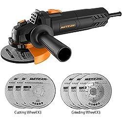Meuleuse d'angle professionnelle Meterk® Ø115mm 750W avec 3pcs Disques à Tronçonner et 3pcs Meule d'affûtage inclus