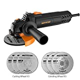Angle Grinder,Meterk 750W 4-1/2inch with 115mm 3 Grinding Abrasive Wheels 3 Cutting Abrasive