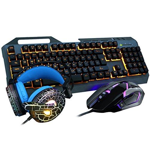 Teclado juego de simulación de teclado mecánico teclado para juegos a contraluz arco iris Teclado Teclado café teclado con cable USB 2.0 de alta gama de periféricos de ordenador teclado impermeable oficina teclado 104KEY teclado, ratón, los equipos auriculares ( Color : Negro )