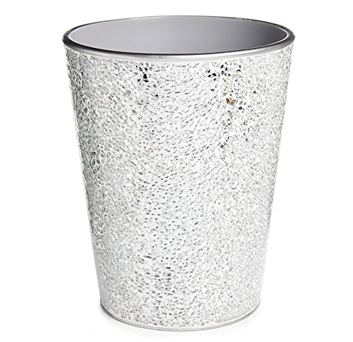 Home Treats Silver Mosaic Waste Bin