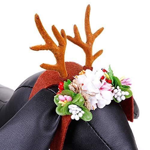 ShuoBeiter Hund Stirnband Hund Zubehör Weihnachten Hörner Stirnband Halloween Ostern Party Hüte Kostüm Cosplay für Katze Hund Einstellbare Flexible Blume Kopfschmuck Dog Headband (M, Elchgeweihe)