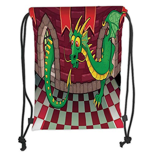 ZKHTO Drawstring Sack Backpacks Bags,Cartoon,Video Game Design Inside The Castle with Dragon Fantasy World Medieval Illustration,Ruby Green Soft Satin,5 Liter Capacity,Adjustable String Closu