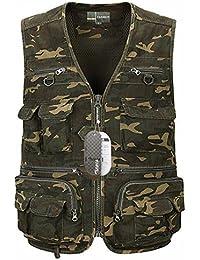 Zicac Outdoor multipoches Gilet de pêche veste de photographie sans manches Camouflage séchage rapide