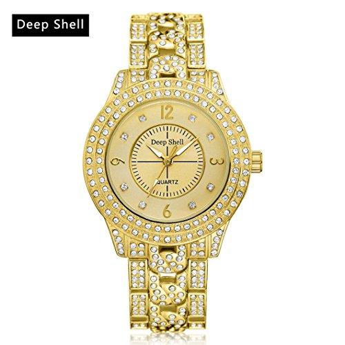 Hunpta Metall Armband Quarz Armband Gold Armband Kristall Diamant Gold Uhr (Gold) - Diamant-gold-armbänder Für Frauen