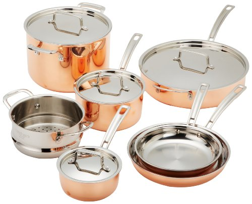 Cuisinart CTP-11AM Copper Tri-Ply Stainless Steel 11-Piece Cookware Set
