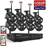 Système de Caméra Kit Vidéo Surveillance sans Fil,SMONET 8 Canaux Extensible 1080P NVR et 8X 1080P Caméras avec 2 to...