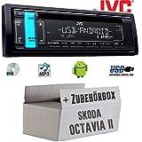 Skoda Octavia 2 1Z 1-DIN Nexus Columbus etc. - Autoradio Radio JVC KD-R491 | CD | MP3 | USB | Android | - Einbauzubehör - Einbauset
