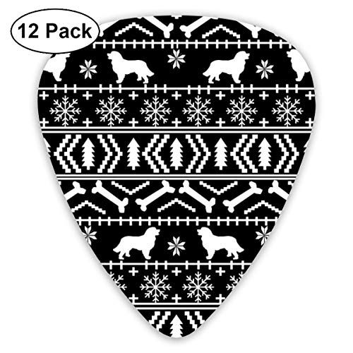 Bernese Mountain Dog Fair Isle Christmas Silhouette Black And White Classic Celluloid Picks, 12-Pack, For Electric Guitar, Acoustic Guitar, Mandolin, And Bass -