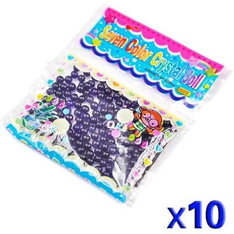 TOOGOO(R) 10 Paquetes de Bola Grano Cuenta de Agua Cristal Gel para Decoracion - Purpura