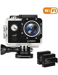 CAMKONG Action Kamera WIFI Sport Action Camera Helmkamera Action Cam Unterwasserkamera Wasserdicht Camera 14MP Full HD mit 2 Verbesserten Batterien und Zubehör Kits