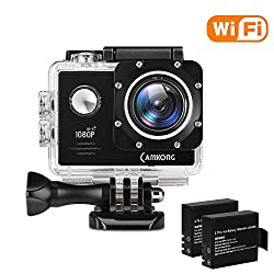 Camkong Wifi Sport Action Camera Helmet Camera Action Cam Camera Waterproof Underwater 14mp Full Hd Action Camera With 2Connectors With Esserten Batteries & Accessories Kit