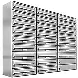 25 er Briefkastenanlage Edelstahl, Premium Briefkasten DIN A4, 25 Fach Postkasten modern Aufputz