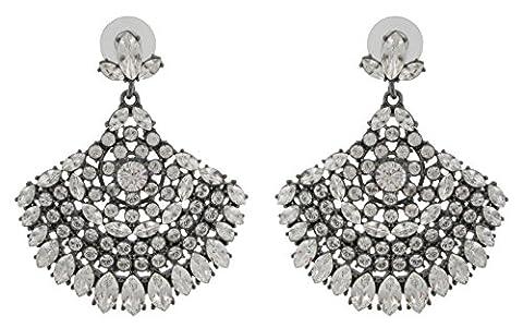 Zest Indian Style Fan Shaped Swarovski Crystal Pierced Drop Earrings Clear