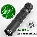Mitlfuny5W 850nm LED Infrarot IR Taschenlampe Zoombaren für Nachtsicht Bereich- ideal für Camping, Wandern und Spaziergang mit Hunde (Schwarz)