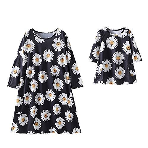 Mutter und Tochter Passende Kleidung Kleid Chrysantheme Langarm Locker Fit Familie Outfit