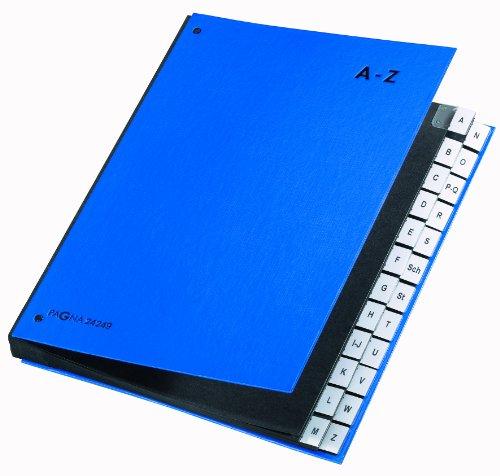 Pagna 24249-02 Pultordner 24-teilig Color-Einband, dehnbarer Leinenrücken 3 Schaulöcher, Tabe A-Z, blau