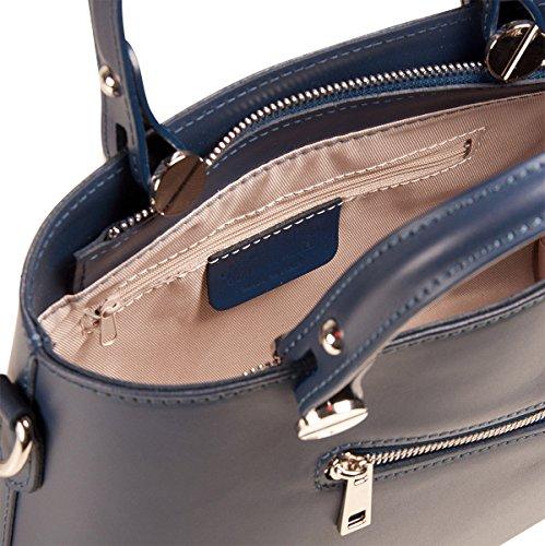 PELLE ITALY Handtasche Leder PI10092 Damen Henkeltasche Echt Leder 30x21x10 cm (BxHxT), Farbe:Rot Rot