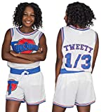 Space Jam Tune Squad Logo Tweety #1/3 White Basketball Jersey