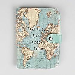 Sass & Belle - Custodia per passaporto con mappa del mondo vintage