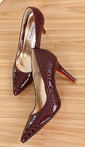 Aisun Damen Klassisch Krokodil-Muster High Heels Stilettos Spitz Schuhe Weinrot