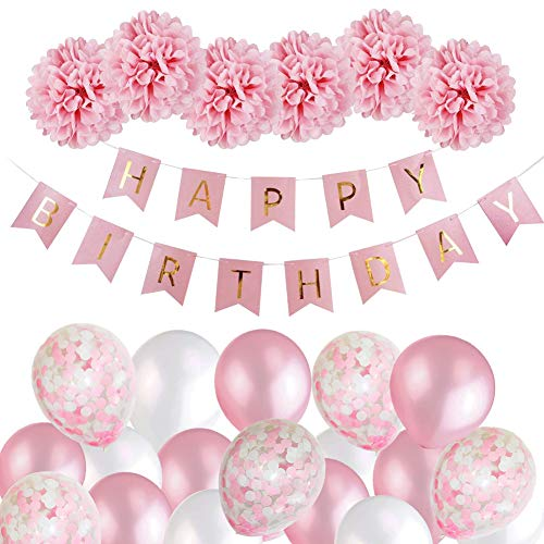 Birthday Decorations Girls, Happy Birthday Bunting Banner Balloons Set with...