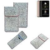 K-S-Trade® Filz Schutz Hülle Für -Allview A9 Plus- Schutzhülle Filztasche Pouch Tasche Case Sleeve Handyhülle Filzhülle Hellgrau Roter Rand